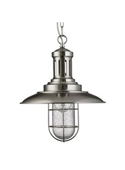 Searchlight Fisherman Single Pendant Light - Satin Silver - Caged Glass Shade