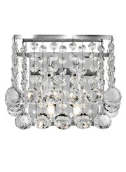 Searchlight Hanna 2 Light Wall Light - Chrome Square - Clear Crystal Balls
