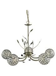 Searchlight Bellis Ii 5  Light Ceiling Pendant - Antique Brass - Glass Shades