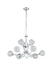 Searchlight Bellis Ii 9 Light Ceiling Pendant - Chrome - Glass Shades