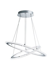 Searchlight Solexa Led 2 Hoops Ceiling Pendant - Chrome & Frosted Acrylic