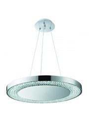 Searchlight Halo Led Pendant Light - Decorative Ring - Chrome - Crystal - 50Cm