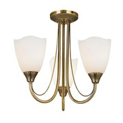 Endon Haughton Semi Flush Traditional Ceiling Light - Antique Brass- 3 Light