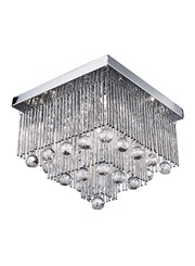 Searchlight Beatrix - Flush Ceiling Light - Square - Chrome - Crystal Drops