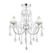 Endon Tabitha Semi Flush Ceiling Light - Clear Crystal Glass & Chrome - 3 Light