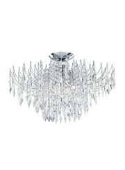 Searchlight Waterfall Semi-Flush 4 Light - Chrome & Crystal