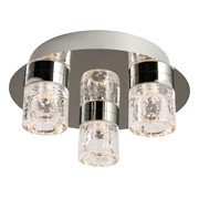 Endon Imperial Flush LED Ceiling Light - Chrome & Crystal - 3 Light