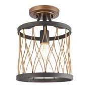 Endon Heston Rustic Semi Flush Ceiling Light - Black & Bronze