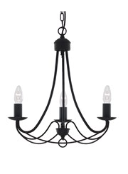 Searchlight Maypole 3 Light Ceiling Fitting - Matt Black - Multi Arm