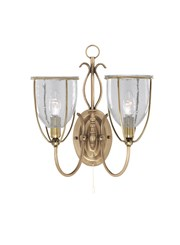 Searchlight Silhouette Double Wall Light - Antique Brass - Glass - Pull Cord