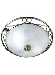 Searchlight Ornate Flush Ceiling Light - Antique Brass - Marble Glass - 37Cm