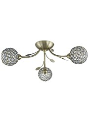Searchlight Bellis Ii Semi-Flush Ceiling 3 Light - Antique Brass - Glass Shades