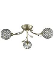 Searchlight Bellis Ii Semi-Flush Ceiling 3 Light - Antique Brass - Glass Shades