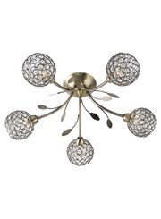 Searchlight Bellis Ii 5 Semi-Flush Ceiling 5 Light - Antique Brass