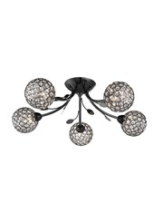 Searchlight Bellis Ii 5 Semi-Flush Ceiling 5 Light - Black Chrome