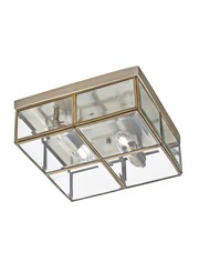 Searchlight Flush 2 Light Glass Box Ceiling Light - Antique Brass - Glass Panels