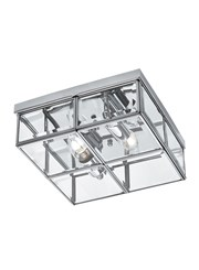 Searchlight Flush 2 Light Glass Box Ceiling Light - Chrome - Glass Panels