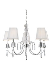 Searchlight Portico Ceiling 5 Light Pendant -Chrome & Glass - White String Shade
