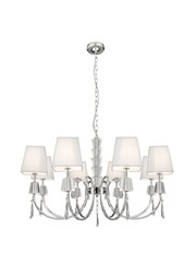 Searchlight Portico Ceiling 8 Light Pendant -Chrome & Glass - White String Shade
