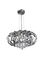 Searchlight Tilly 5 Light Pendant Fitting - Chrome Strips & Clear Glass Balls