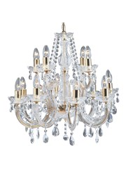 Searchlight Marie Therese  12 Light Chandelier - Crystal - Polished Brass