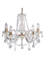 Searchlight Marie Therese  5 Light Chandelier - Crystal - Polished Brass