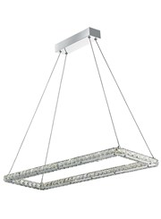 Searchlight Clover Led Large Rectangle Frame Ceiling Pendant - Chrome - Crystal