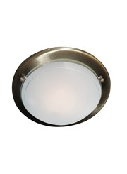 Searchlight Round Flush Ceiling Light - Antique Brass - 30Cm