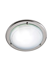 Searchlight Flush Ceiling Fitting - Round - White & Clear Glass Diffuser