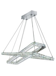 Searchlight Clover Led Dual Rectangle Frame Ceiling Light - Chrome - Adjustable