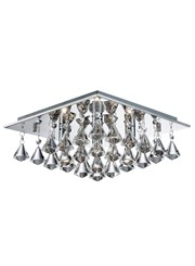 Searchlight Hanna Square 4 Light Ceiling Fitting - Chrome - Crystal Drops