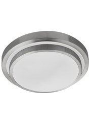 Searchlight Led Bathroom Flush Light - White Shade - Aluminium Trim - Ip44