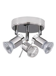 Searchlight Aries Ip44  3 Light Spotlight - Chrome & Satin Silver