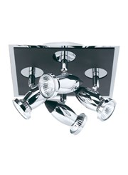 Searchlight Comet Ceiling 4 Spotlight Square - Chrome & Black