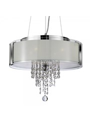 Searchlight Ceiling Pendant - Chrome With Frosted Glass And Crystal
