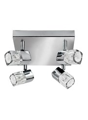 Searchlight Blocs 4 Light Square Spotlight - Ice Cube Glass - Chrome