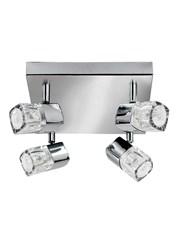 Searchlight Blocs 4 Light Square Spotlight - Ice Cube Glass - Chrome