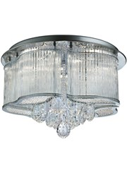 Searchlight Mela Led Flush Ceiling Light - Clear Glass Trim - Clear Crystal