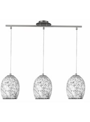 Searchlight Crackle - 3 Light Bar - Mosaic Glass Pendants - Satin Silver Trim
