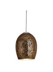 Searchlight Crackle Dome Pendant - Bronze Mosaic Glass - Satin Silver Suspension