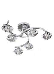 Searchlight Sculptured Ice Semi-Flush Curve 6 Light - Chrome - Clear Glass