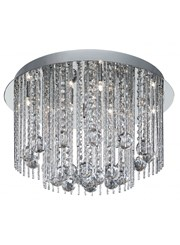 Searchlight Beatrix - Flush Ceiling Light - Round - Chrome - Crystal Drops