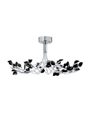Searchlight Wisteria Semi-Flush 10 Light - Chrome Fitting With Black Leaves
