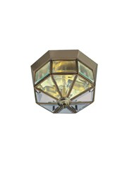 Searchlight Flush Ceiling Light - Bevelled Glass Triangles - Antique Brass