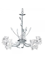 Searchlight Bellis Pendant Ceiling 5 Light - Chrome - Clear Flower Glass