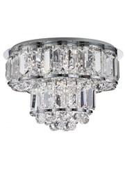 Searchlight Hayley Flush Ceiling 4 Light - Clear Crystal Drops