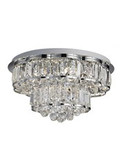 Searchlight Hayley Flush Ceiling 6 Light - Clear Crystal Drops