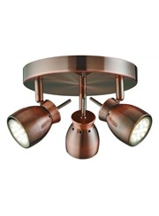 Searchlight Jupiter Round Ceiling 3 Spotlight - Antique Copper