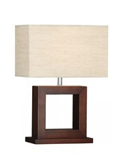 Searchlight Cosmopolitan Dark Wood Square Table Lamp - Cream Oblong Shade