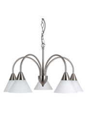 Cone 5 Light Simple Satin Silver Pendant Downlight / Chain